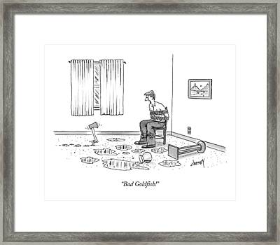 Bad Goldfish! Framed Print by Tom Cheney