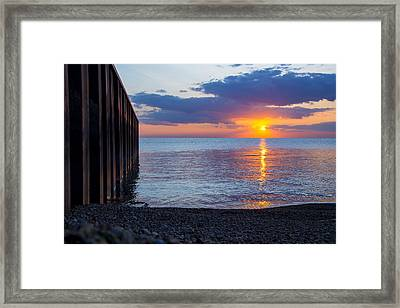 Framed Print featuring the photograph 8.16.13 Sunrise Over Lake Michigan North Of Chicago 001 by Michael  Bennett