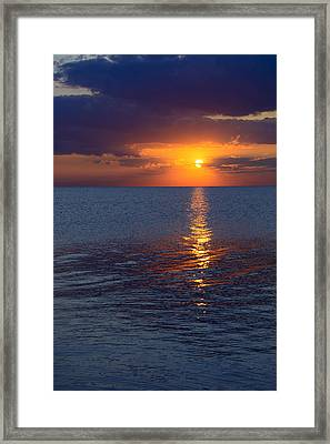 Framed Print featuring the photograph 8.16.13 Sunrise Over Lake Michigan North Of Chicago 002 by Michael  Bennett