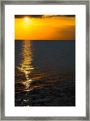 Framed Print featuring the photograph 8.16.13 Sunrise Over Lake Michigan North Of Chicago 003 by Michael  Bennett