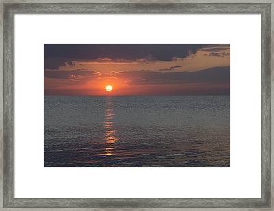 Framed Print featuring the photograph 8.16.13 Sunrise Over Lake Michigan North Of Chicago 004 by Michael  Bennett