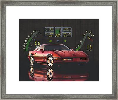 84 Corvette Framed Print by Richard De Wolfe