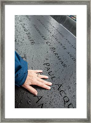 8462 911 Memorial A Touch Of A Hand Framed Print by Deidre Elzer-Lento