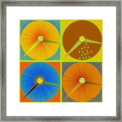 880 - Rain And Shine Clocks  Framed Print by Irmgard Schoendorf Welch