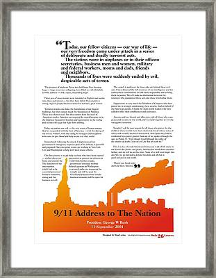 9/11 Address To The Nation Framed Print by Alan Levine