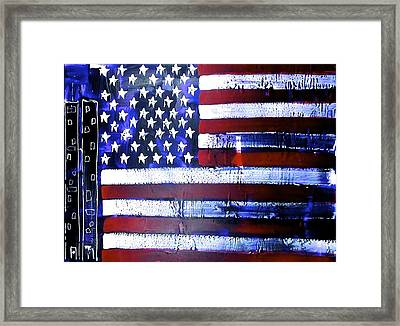 9-11 Flag Framed Print by Richard Sean Manning