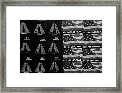 9/11 Memorial For Sale In Black And White Framed Print by Rob Hans