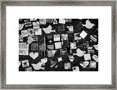 9 11 Tile Memorial Tiles Made By American Children And Displayed On Fence On 7th Avenue New York Usa Framed Print