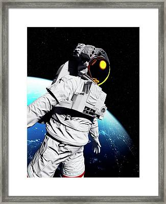 Astronaut In Space Framed Print by Sciepro/science Photo Library