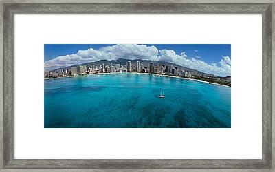 Buildings At The Waterfront, Honolulu Framed Print