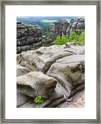 Elbe Sandstone Mountains Framed Print by Martin Zwick