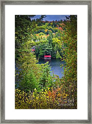 Fall Forest And Lake Framed Print