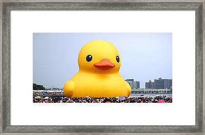 Giant Rubber Duck Visits Taiwan Framed Print