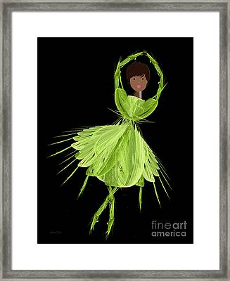 9 Green Ballerina Framed Print by Andee Design