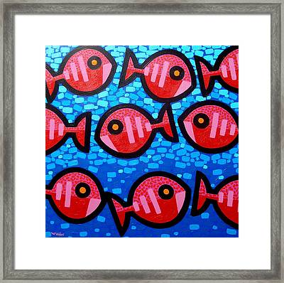 9 Happy Fish Framed Print by John  Nolan