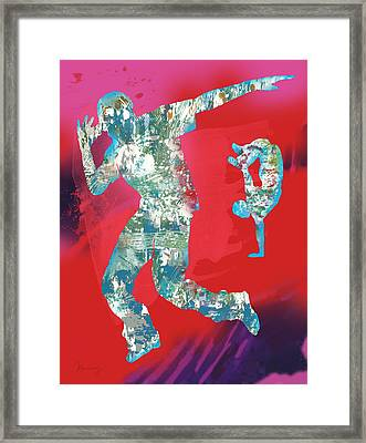 Hip Hop Street Dancing  Pop Stylised Art Poster Framed Print