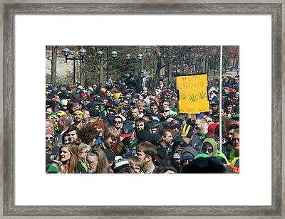 Legalisation Of Marijuana Rally Framed Print