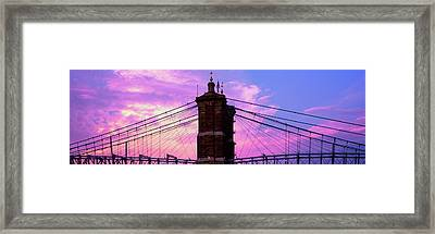 Low Angle View Of A Suspension Bridge Framed Print