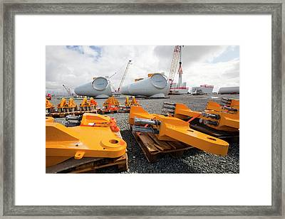 Parts For The Walney Offshore Wind Farm Framed Print by Ashley Cooper