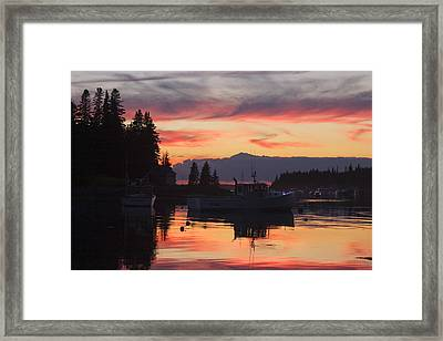 Port Clyde Maine Fishing Boats At Sunset Framed Print by Keith Webber Jr
