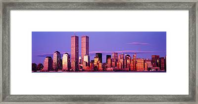 Skyscrapers In A City, Manhattan, New Framed Print by Panoramic Images
