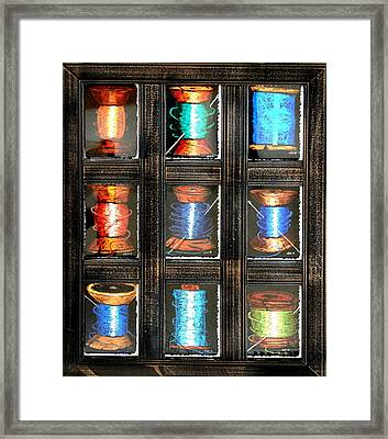 Framed Print featuring the drawing 9 Spools by Joseph Hawkins