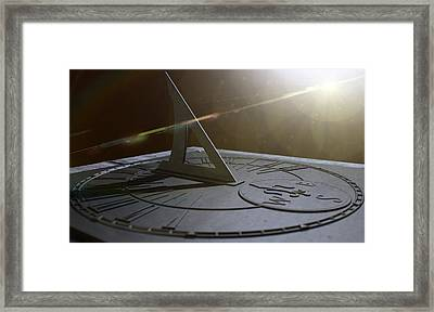 Sundial Lost In Time Framed Print by Allan Swart