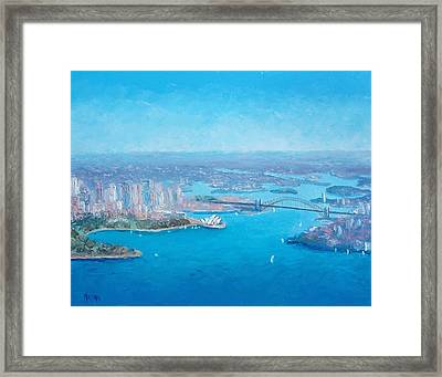 Sydney Harbour And The Opera House Aerial View  Framed Print