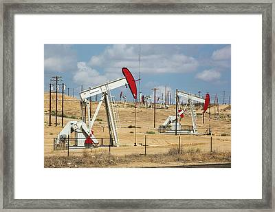 The Kern River Oilfield In Oildale Framed Print by Ashley Cooper