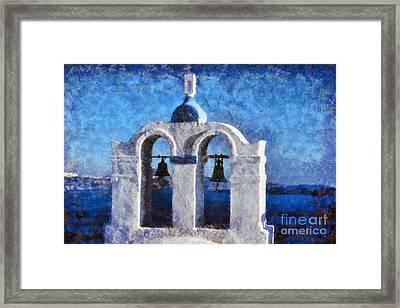 Traditional Belfry In Santorini Island Framed Print by George Atsametakis