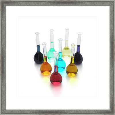 Transition Element Salts In Solution Framed Print by Science Photo Library
