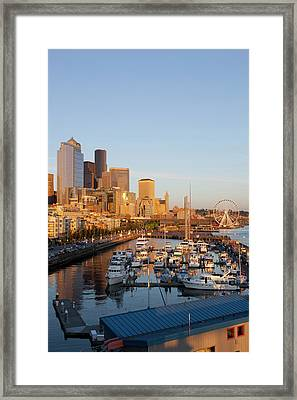 Wa, Seattle, The Seattle Great Wheel Framed Print by Jamie and Judy Wild