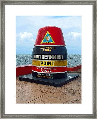 Southernmost Point Key West - 90 Miles To Cuba Framed Print