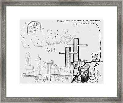 911 New York City Framed Print by Janos Kurz