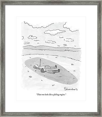 That One Looks Like A Falling Engine Framed Print by Danny Shanahan