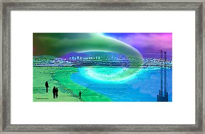 920 - Blue City On The Sea Framed Print by Irmgard Schoendorf Welch