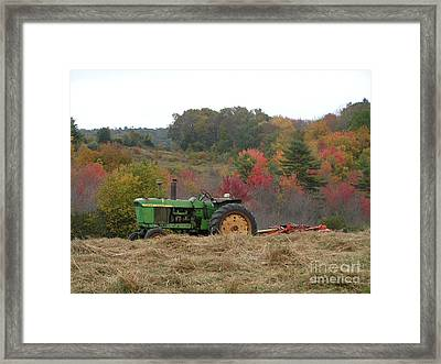 #924 D749 John Deere Tractor On Woodsom Farm In Amesbury Ma Framed Print by Robin Lee Mccarthy Photography