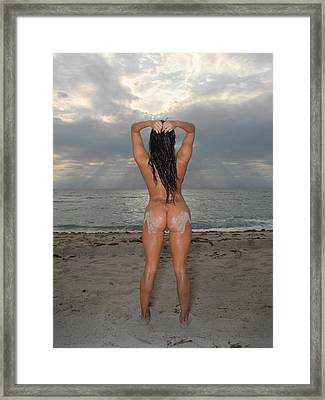 9524 Sandy Hand Prints On Beautiful Nude Woman's Bare Backside Framed Print