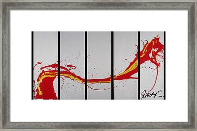 96x49 The Red Dragon  - Black Fire - Huge Signed Art Abstract Paintings Modern Www.splashyartist.com Framed Print