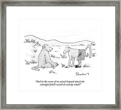 And In The Event Of An Actual Leopard Attack Framed Print by Danny Shanahan