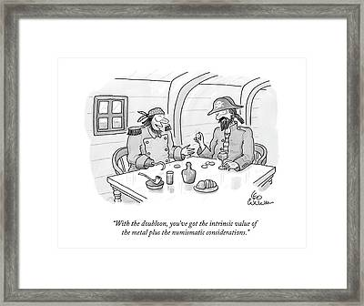 With The Doubloon Framed Print