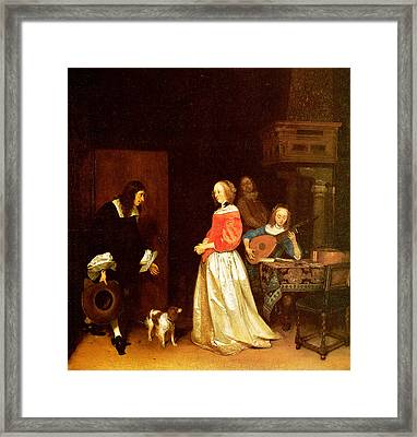 The Suitors Visit Framed Print by Gerard Terborch