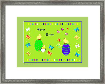 988 - Happy Easter   Greeting Card Framed Print