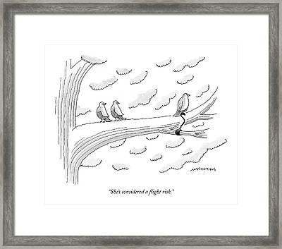 She's Considered A Flight Risk Framed Print