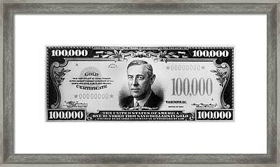 A $100,000 Bill Framed Print by Underwood Archives
