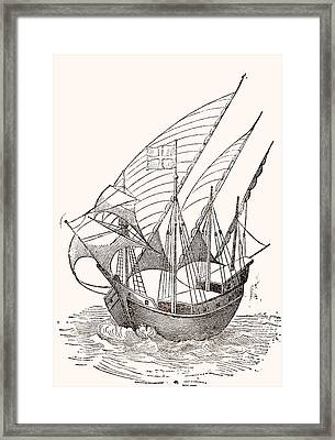 A 15th Century Caravel  Framed Print by Spanish School