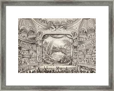 A 1789 Performance In The Theatre Des Varietes Amusantes Framed Print by French School