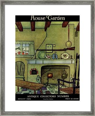 A 1920's Idea Of A Colonial Kitchen Framed Print