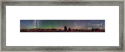 A 360 Degree Panorama With Aurora Framed Print by Alan Dyer