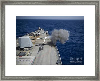 A 5-inch Gun Is Fired Aboard Uss Framed Print by Stocktrek Images